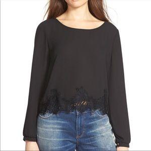 ASTR Black Long Sleeve Blouse
